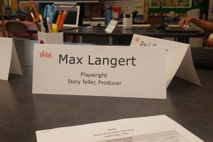 Max Langert - Name tag for Vela board meeting